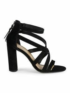 Stuart Block Heel Suede Sandals