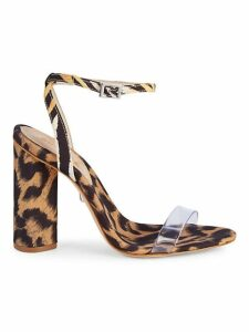 Queen Leopard Print Clear Strap Sandals