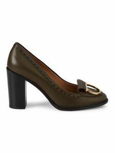 Fele 85 Leather Stacked-Heel Loafer Pumps