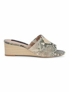 Limited Snake Print Leather Mule Sandals