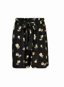 Womens Tall Black Floral Print Shorts, Black