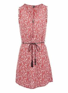 Womens Izabel London Red Floral Print Zip Front Dress, Red