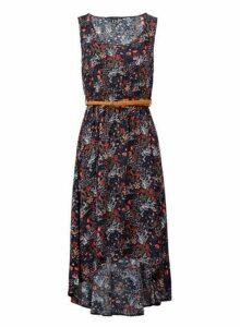 Womens Izabel London Multi Colour Ditsy Floral Print Midi Dress, Multi Colour
