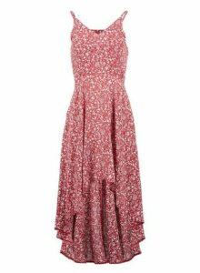 Womens Izabel London Red Ditsy Floral Print Dress, Red