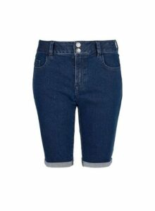 Womens Indigo Double Button Knee Shorts - Blue, Blue