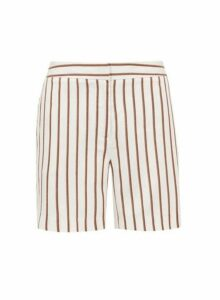 Womens White Stripe Print Shorts, White