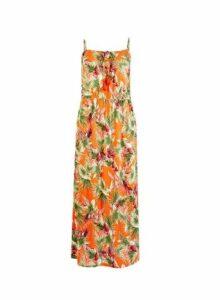 Womens Orange Tropical Print Maxi Dress, Orange
