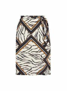 Womens Dp Curve Zebra Print Midi Skirt - Multi Colour, Multi Colour