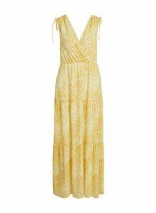 Womens Vila Yellow Print Maxi Dress, Yellow