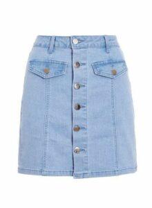 Womens Quiz Blue Denim Front Mini Skirt, Blue