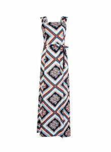Womens **Multi Colour Square Neck Maxi Dress, Multi Colour