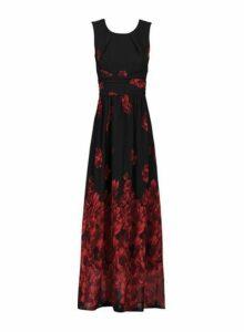 Womens *Jolie Moi Black Floral Print Chiffon Maxi Dress, Black