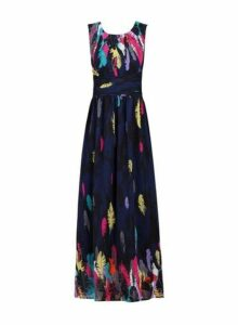 Womens *Jolie Moi Navy Pattern Chiffon Dress, Navy