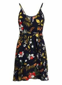 Womens Quiz Navy Flower Print Wrap Dress, Navy