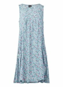Womens Izabel London Multi Colour Floral Print Hanky Hem Skater Dress - Blue, Blue