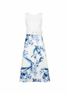 Womens Luxe Ivory China Floral Print Midi Dress, Ivory