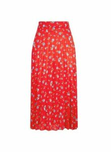 Womens Red Ditsy Print Midi Skirt, Red