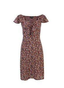 Womens Oxblood Floral Print Tie Front Dress - Red, Red