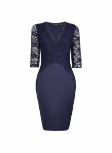 Womens Navy Lace Top Bodycon Dress - Blue, Blue