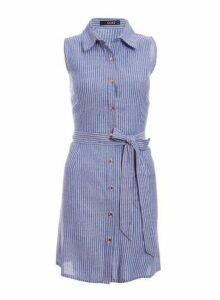 Womens *Quiz Blue Cotton Button Front Dress, Blue