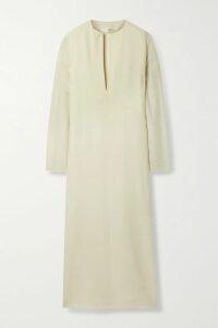 Fleur du Mal - Belted Embroidered Striped Cotton-blend Poplin Mini Dress - Light blue