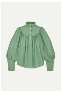 Anna Mason - Kasia Gathered Swiss-dot Cotton Blouse - Green