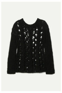 SAINT LAURENT - Distressed Open-knit Sweater - Black