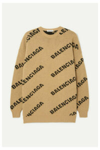 Balenciaga - Oversized Intarsia Wool-blend Sweater - Beige