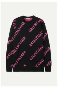 Balenciaga - Oversized Intarsia Cotton-blend Sweater - Black