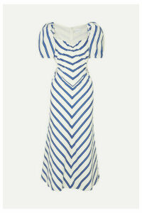 alice McCALL - At Last Cutout Striped Cotton-poplin Midi Dress - White