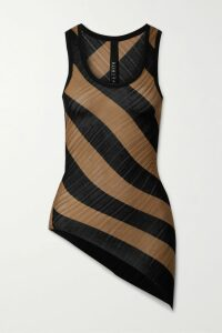 Monse - Asymmetric Grosgrain-trimmed Pinstriped Satin-twill And Merino Wool Sweater - Camel