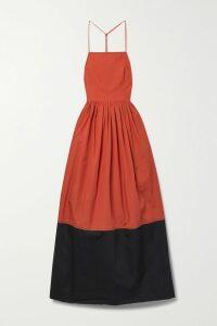 Roksanda - Rhonda Ruffled Two-tone Cady Midi Dress - Blue