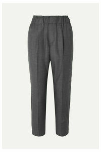 Brunello Cucinelli - Cropped Bead-embellished Wool Tapered Pants - Gray