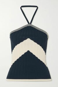 Silvia Tcherassi - Brett Cropped Checked Cotton-blend Top - Cream