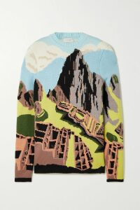 Chloé - Layered Printed Silk-twill Wide-leg Pants - Blue
