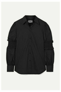 MM6 Maison Margiela - Shirred Cotton-poplin Shirt - Black