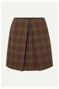 MM6 Maison Margiela - Pleated Checked Woven Mini Skirt - Brown