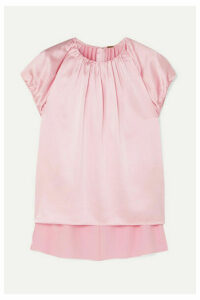 Adam Lippes - Gathered Silk-charmeuse Top - Pink