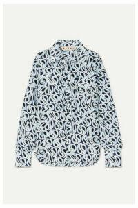 Marni - Frayed Printed Silk-twill Shirt - Blue