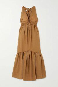 The Great - The Glen Picot-trimmed Striped Cotton-poplin Maxi Dress - Blue