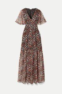 Eywasouls Malibu - Maria Leopard-print Chiffon Maxi Dress - Red