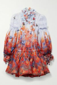 Alexander McQueen - Tie-neck Floral-print Silk-crepe Blouse - Ivory