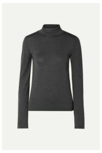 The Row - Margita Stretch-silk Turtleneck Sweater - Charcoal