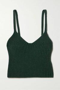 Madewell - Emmett Stretch-cotton Canvas Wide-leg Pants - Army green