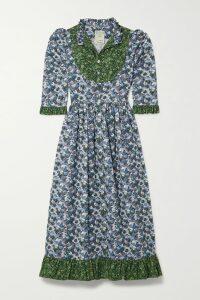 GANNI - Floral-print Crepe Wrap Blouse - Pastel yellow