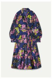 Stine Goya - Niki Floral-jacquard Wrap Dress - Navy