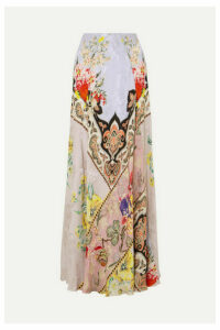 Etro - Printed Crepe-jacquard Maxi Skirt - Lilac