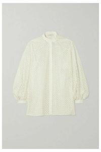 The Row - Vara Laser-cut Cotton-blend Blouse - White