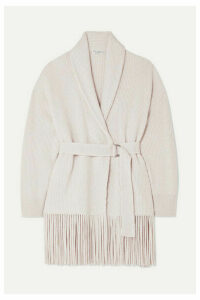 Brunello Cucinelli - Belted Ribbed Fringed Cashmere Cardigan - Beige