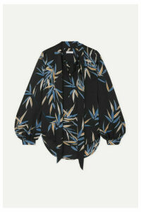 EQUIPMENT - Cleone Pussy-bow Printed Satin Blouse - Black